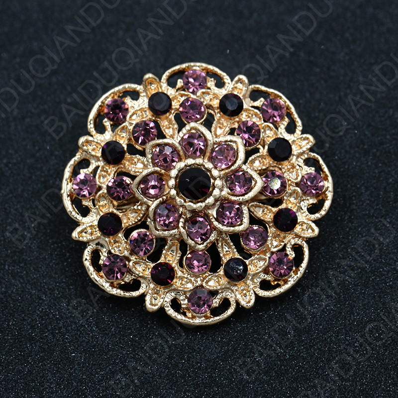 Hot Selling Assorted Colors Crystal Rhinestones Flower Cute Brooch Pins for Women in Gold Color Plating