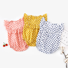 SHYL 2019 Ruffles Dots Romper Cotton Summer Baby Girls