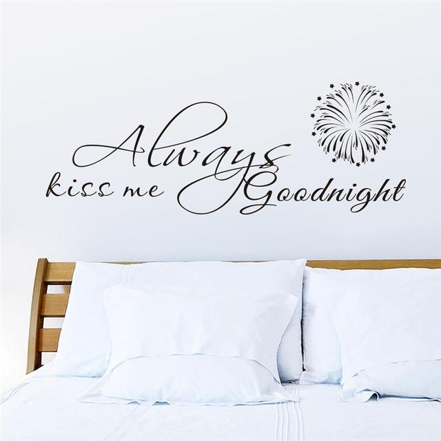 Altijd Kiss Me Good Night Quotes Muurstickers Slaapkamer Decor Schil ...