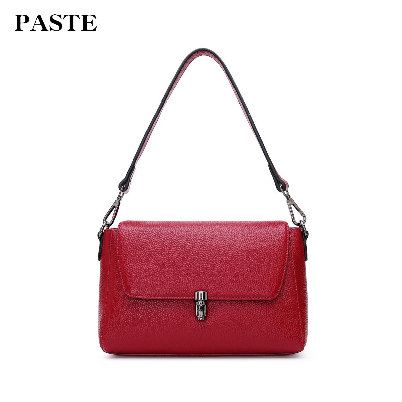 Paste Women Shoulder Bags Genuine Leather Handbags Crossbody Messenger Bags Soft Cow Leather 2018 Brand New Designer 8p2010