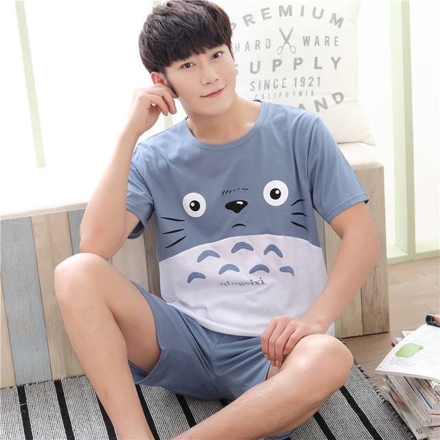 Summer Men Pyjamas Short Sleeve 100% Cotton Casual Pajamas Set Sleep Shorts Suit Male Big Size L-4XL Sleepwear Lingerie