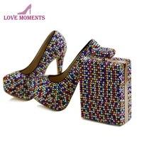 Многоцветные стразы; вечерние модельные туфли с клатчем; Каблук 5 дюймов; туфли на шпильке с кристаллами; свадебные туфли на платформе; разме
