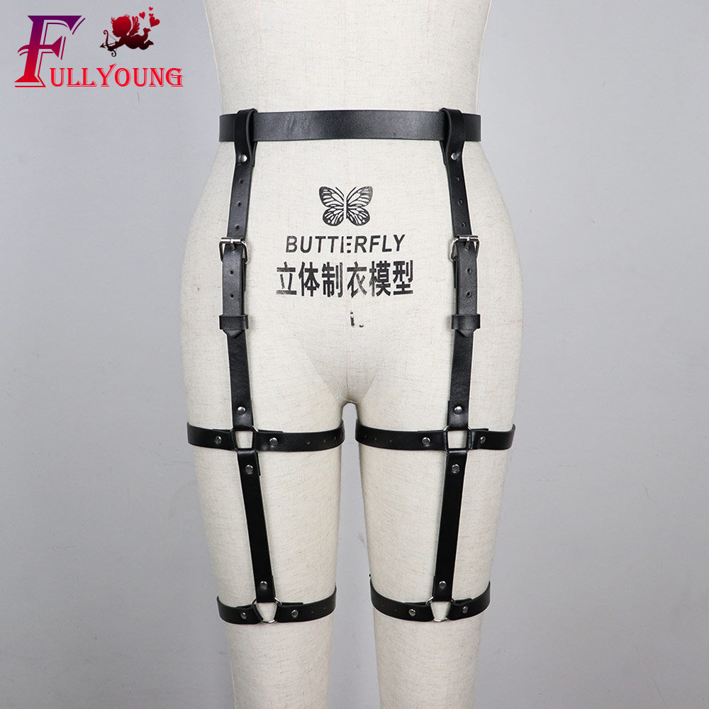 Fullyoung Sexy Sets 2PCS Women Garters Bra Harness Leg Bondage Straps Bra Leg Garter Adjustable Leather Punk Gothic Garter Sets in Garters from Underwear Sleepwears