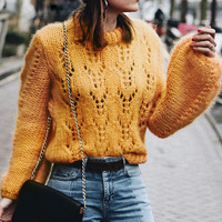 sweaters fashion 2018 womens yellow sweaters winter sweater knitting pullovers christmas sweater hollow out jumpers ladies