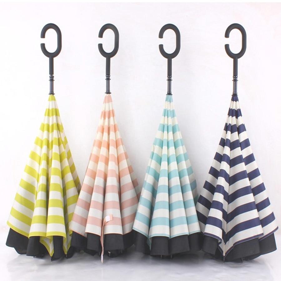 Extérieur femmes Uv noir Double couche parapluie inverse parapluies Parasol Sombrilla pluie casquettes Zont ombre fournitures 70D0269