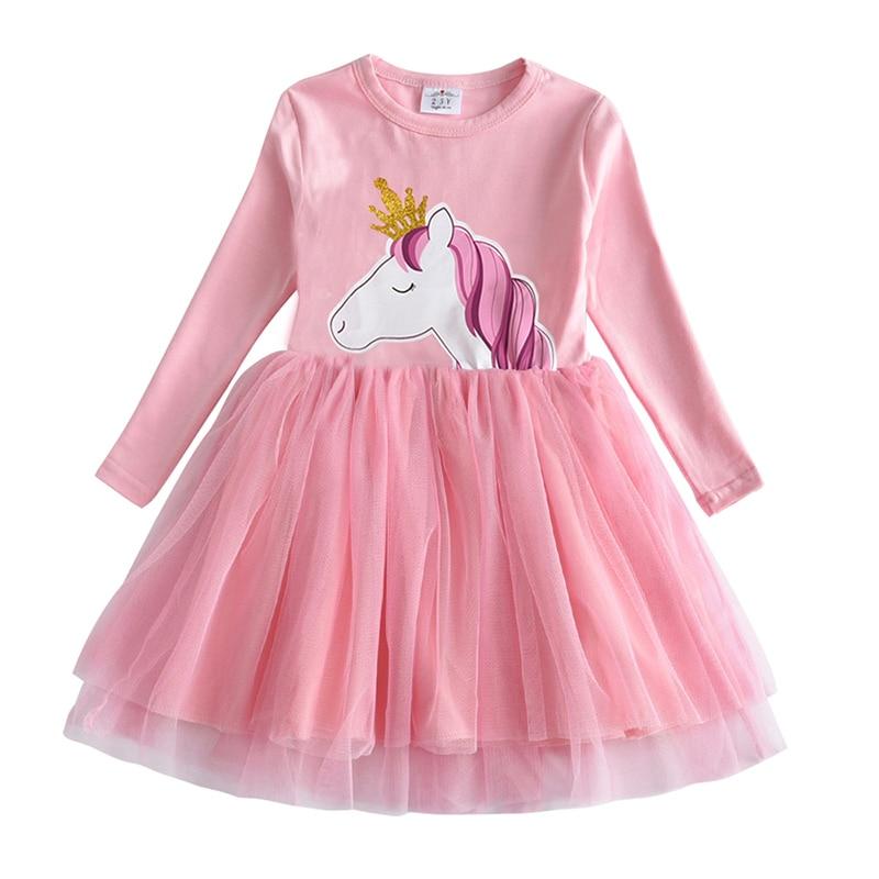 VIKITA Kids Long Sleeve Dresses for Girls Party Dress Star Printed Birthday Tutu Dresses Children Casual Wear Princess Vestidos 10