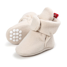 Unisex Baby noworodek faux Fleece Bootie zima ciepłe niemowlę Toddler łóżeczka buty klasyczne piętro chłopcy dziewczęta buty tanie tanio Płytkie Stałe Tkanina bawełniana Cork Zaczep pętli Pasuje do rozmiaru Weź swój normalny rozmiar WONBO Dziecko First Walkers