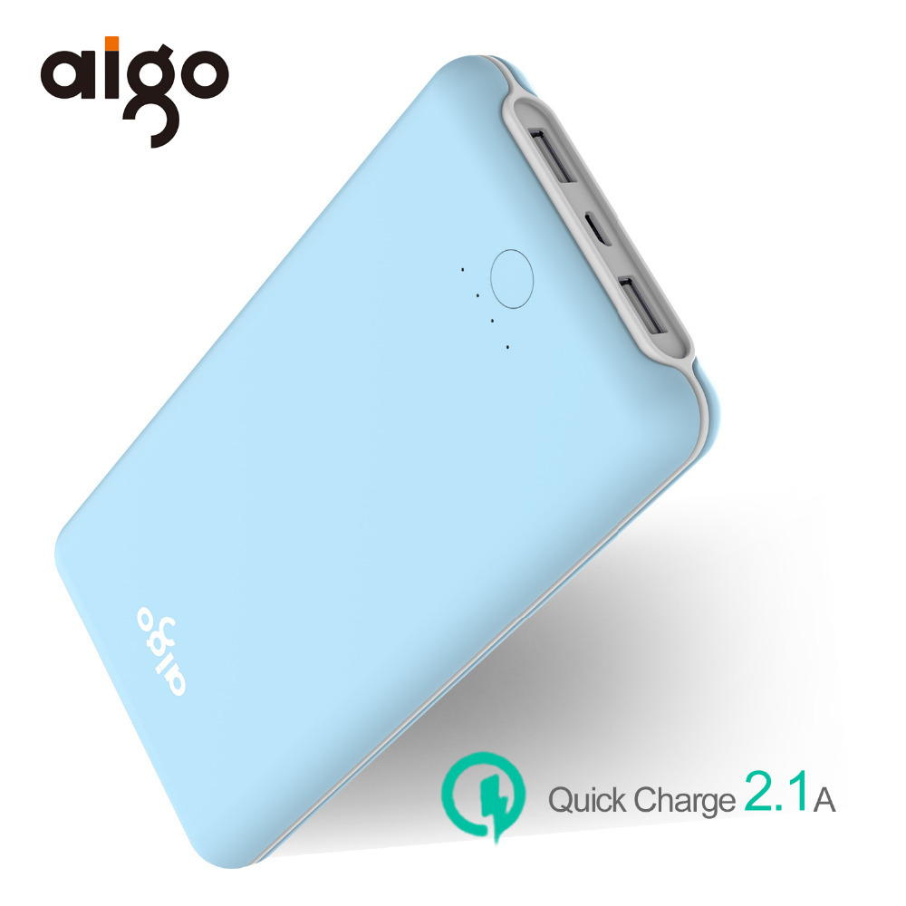 Aigo 30000mAh Power Bank 2 USB Ports Portable External Battery Powerbank Ultra Slim Poverbank For Xiaomi Mi for Iphone 7 7s 8 X