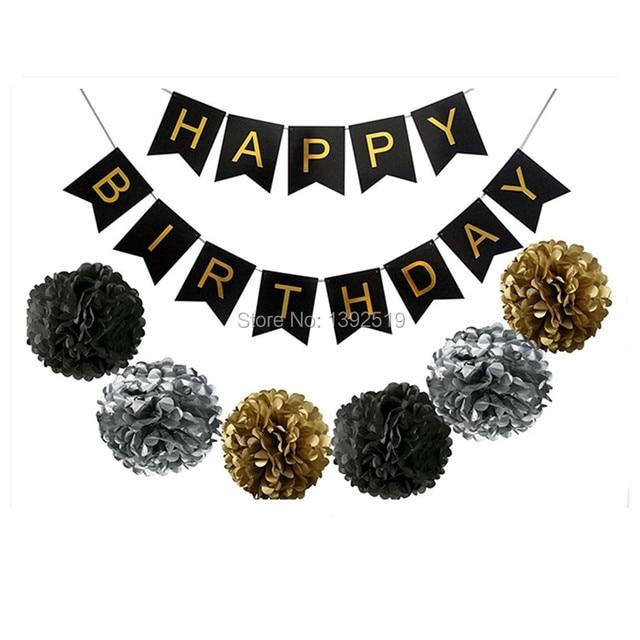 black gold decoration set happy birthday banner fluffy pom poms best