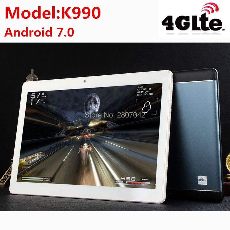 2017 K990 Octa Core 10.1 pouce tablet MTK8752 Android Tablet 4 gb RAM 64 gb ROM Dual SIM Bluetooth GPS android 7.0 10 Tablet PC