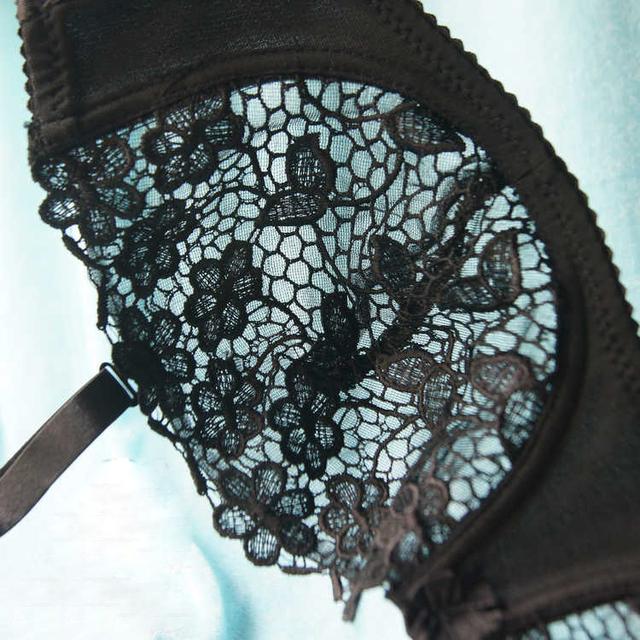Ladies Secret Black Mesh Lace Bralette Bras For Women Sexy Lingerie Big Size Plunge Bra Unlined Push Up Transparent Charms Plus