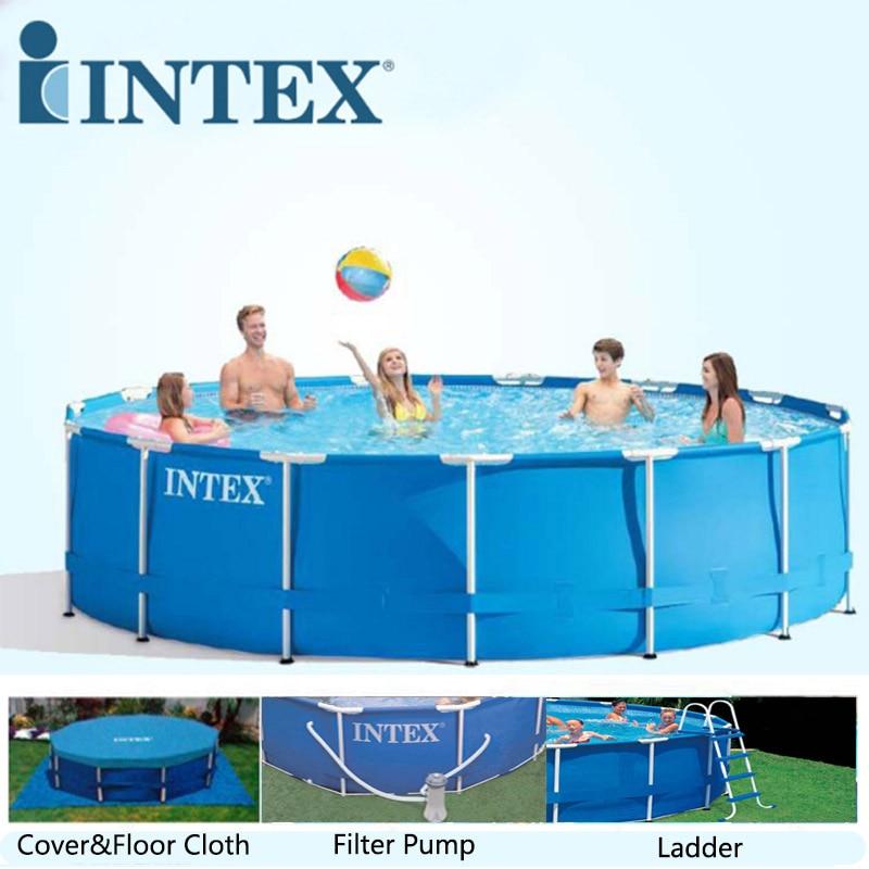 US $1323.0  INTEX 457*122 cm Round Frame Family Swimming Pool Set Pipe Rack  Pond Large above ground Swimming Pool Piscina Filter Pump B32001-in Pool &  ...