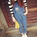 Новый корейский стиль джинсовые комбинезоны для 2016 мода микки мультфильм ковбой подтяжки брюки свободного покроя свободный Большой размер джинсовые комбинезоны