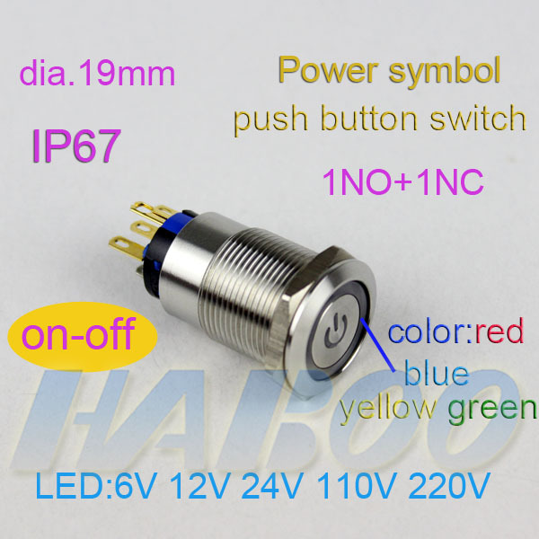10pcslot Stainless Steal Push Button Switch With Led Dia19mm Power