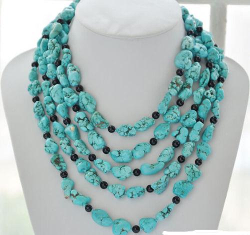 Vente bijoux> long 14X18mm original bleu jewe noir nouveau collier de perles 100 pouces> livraison gratuite