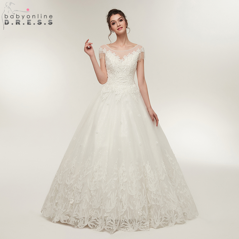 Simple Elegant Tulle A Line Scoop Neck Cap Sleeves Lace: Aliexpress.com : Buy Elegant O Neck Ball Gown Wedding