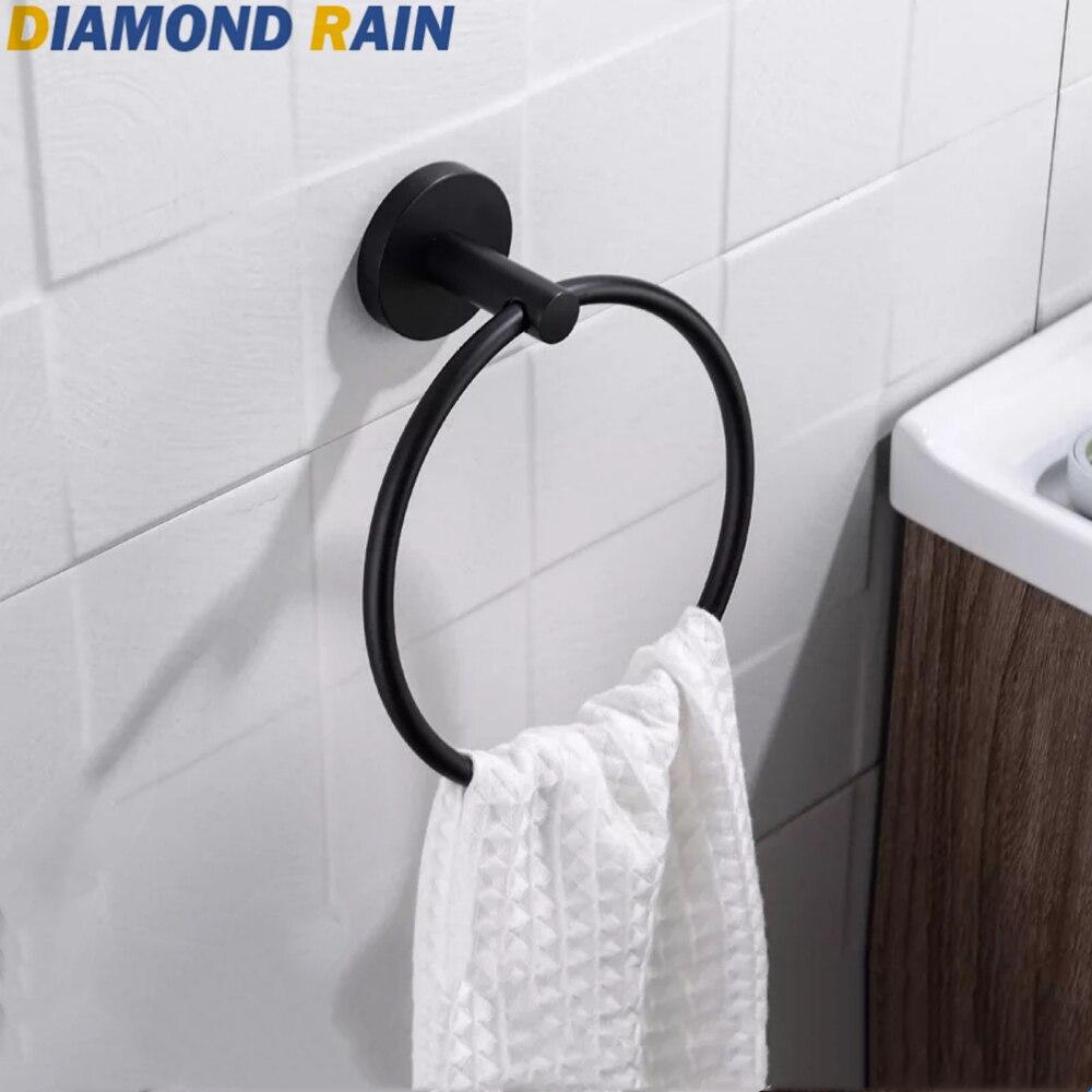 VIBORG Luxury Brass Towel Ring Towel Rack Holder Hanger Chrome+Gold