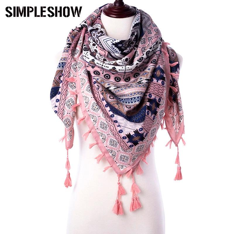 SIMPLESHOW fashion Winter Scarf Women winter tartan Tassel ...