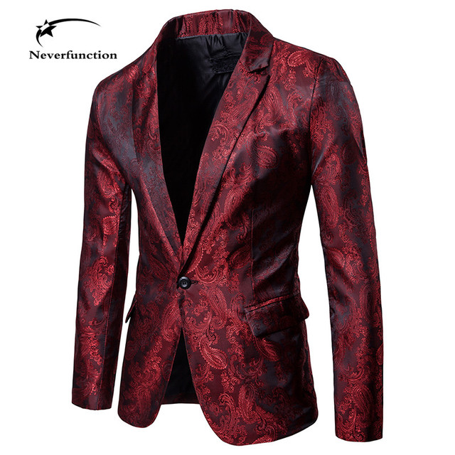 Chaqueta De Novia Slim Negocios Rojo Hombres Floral Blazer Vestido qXwZSnt