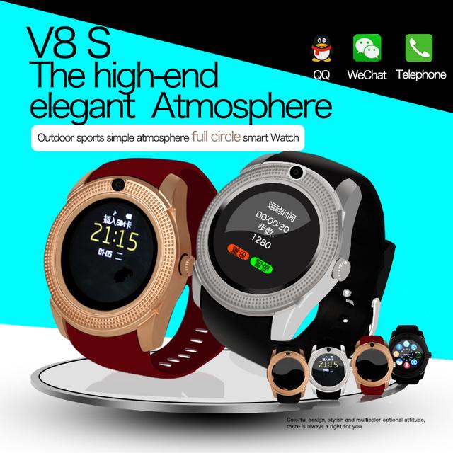 2017 novos chegada da alta qualidade relógio de pulso com câmera android smart watch v8 tela de toque ogs mtk6261d relógio rastreador de fitness
