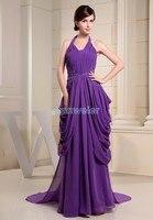 free shipping vestidos de novia fashion long purple dress halter embroidery customize size/color chiffon gown bridesmaid dresses