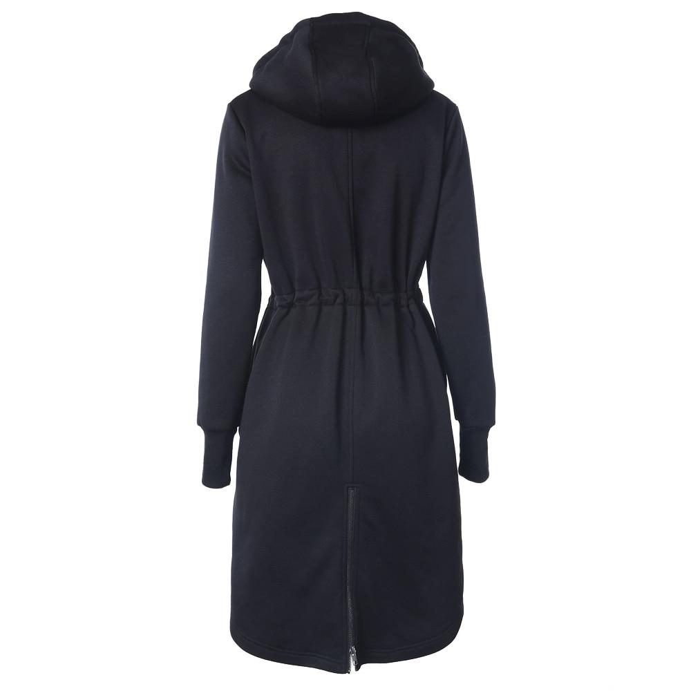 IMC Womens Fashion Long Hoodies Casual Spring Autumn Long Sleeve Pocket Design Warm Hooded Sweatshirts Sliming Solid Zipper O