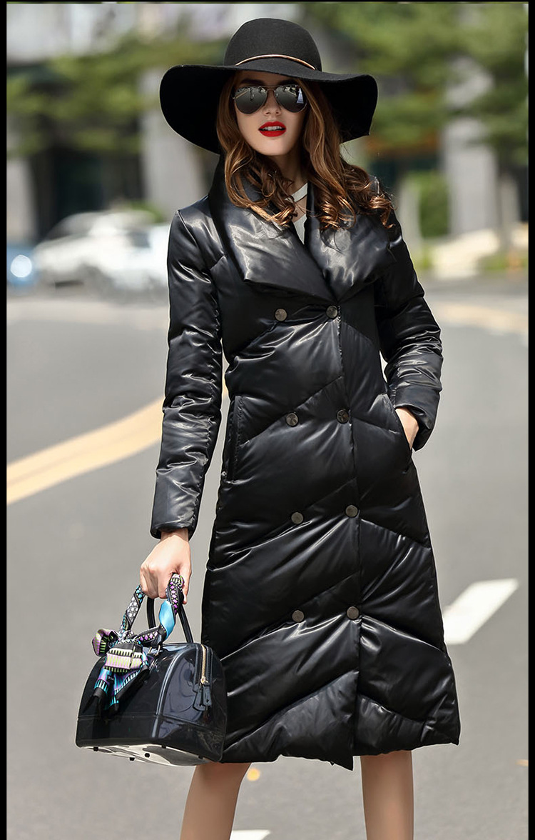 90% duck down coat 2018 fashion brand double breasted down jacket womens winter great quality luxury long warm down coat wj1303