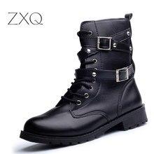 Gran oferta de botas de motociclista para mujer, botas de estilo retro con remaches para combate, botas de Otoño de cuero estilo gótico Punk para mujer