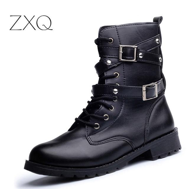 ea4d4641cafb Hot Sale Fashion Women Motorcycle Boots Ladies Vintage Rivet Combat Army Punk  Goth Ankle Shoes Biker Leather Autumn women boots