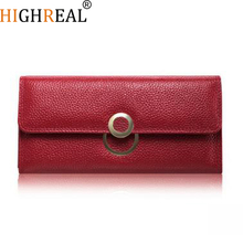 HIGHREAL Brand Wallet Women Wallets New Fashion Female Cards Holders Genuine Leather Wallet Coin Purses Lady Wallet with Ring