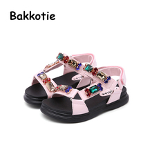 Bakkotie 2018 nueva moda verano niña dulce lindo marca todo-fósforo Rhinestone  sandalia niño Rosa pisos niño negro zapatos e4bb708f722e
