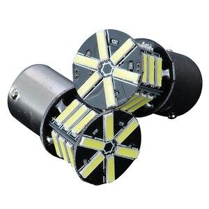 Image 2 - 2 قطعة 12 فولت BA15S 1156 7020 بدوره مصباح إشارة 21LED سوبر الأبيض الذيل احتياطية عكس الفرامل ضوء لمبة للإضاءة سيارة