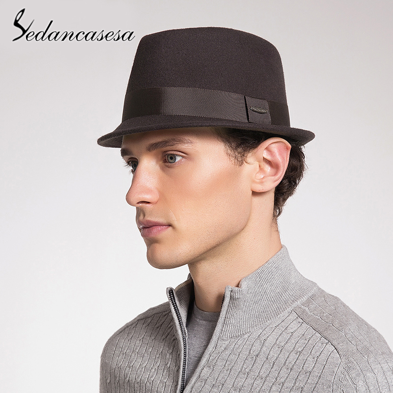 be7a6e90703f4 Sedancasesa nuevo macho llegada sombrero de invierno hombre moda de lana de fieltro  sombreros niños sombreros de moda británico ocio gorras para hombre