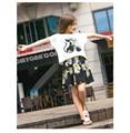 O Vestido da menina Menina Roupas Sets 2 pcs T-shirt + Vestidos 2016 Primavera Nova Chegada Gato Bonito Patetrn Casuais estilo AuroraBaby