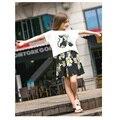 Vestido de la muchacha de La Muchacha Arropa los Sistemas 2 unids camiseta + Vestidos 2016 Nueva Llegada Del Resorte Lindo Gato Patetrn Casual estilo AuroraBaby