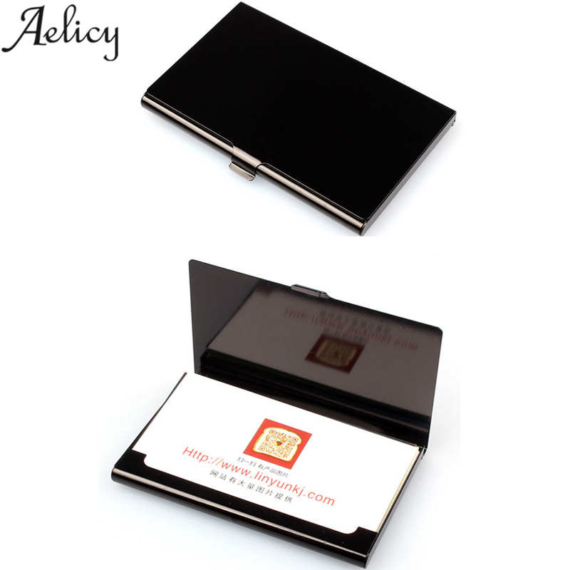 Aelicy Travel Card Wallet Aluminum Alloys ID Credit Card Holder Men Women Business Card Case Stainless Steel Metal Clip Carteira new brand stainless steel men s business card holder portable id card case for women metal credit card holder