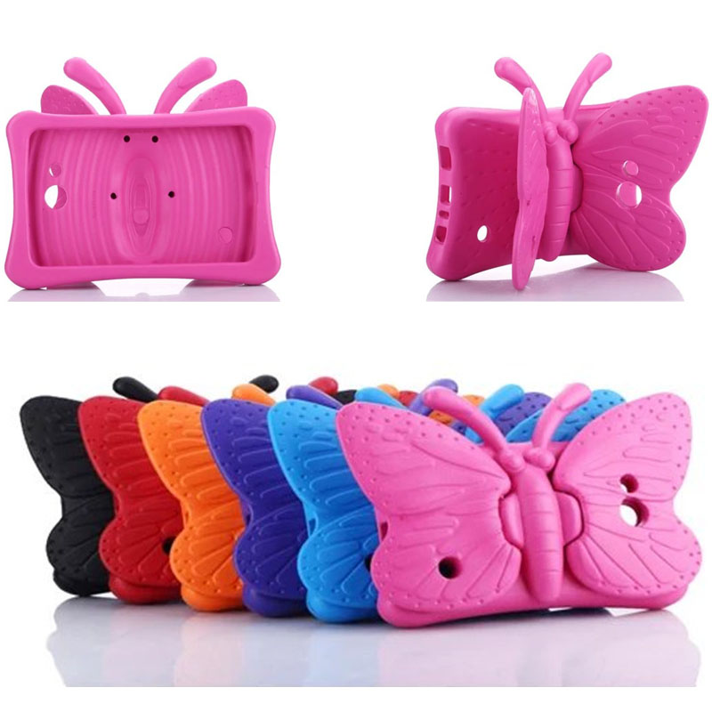 Case For Samsung Galaxy Tab 3 4 7.0 T2105 T210 T230 Life T110 T116 T280 T285 Kids Friendly 3D Cute Butterfly Wings Stand Cover