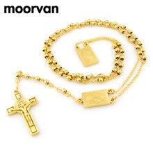 4mm, 66 cm de largo chapado en oro los hombres collar de cuentas de rosario de acero Inoxidable Religión de Jesús, joyería de las mujeres cruz de la joyería, 2 colores