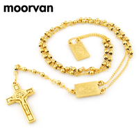 66cm 4mm 14k Gold Plated Women Men Rosary Beads Necklace Stainless Steel Religion Of Jesus Jewellery