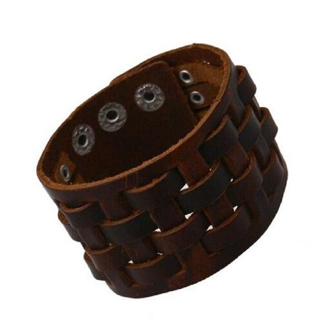 901e20df4716 Punk rock Cuero auténtico joyería Accesorios cuadrado hecho a mano trenzado  botón pulseras anchas hip-