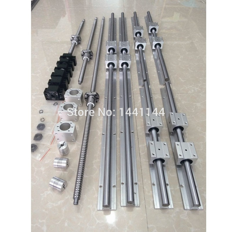 6 sets linear rail guide SBR20 - 400/900/1500mm + ballscrew SFU1605- 450/950/1550mm + BK12/BF12 + Nut housing Coupler CNC parts 6 sets linear guide rail sbr20 300 1200 1200mm 3 sfu1605 350 1250 1250mm ballscrew 3 bk12 bk12 3 nut housing 3 coupler for cnc