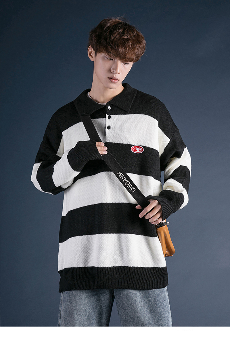 Korean Turtleneck Sweater Men Pullover Streetwear (19)