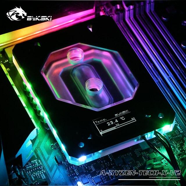 Bykski cpu水銅ブロック使用amdのRYZEN3000 AM3/AM4/TR4/1950X/X399 X570 マザーボード 5v A RGB温度表示oled