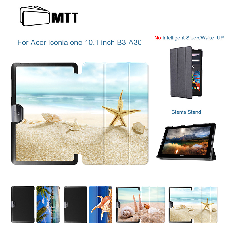 Beach Conch Case For Acer Iconia One 10 B3-A40 PU Leather Stand Cover for Acer Iconia One 10 A3 A40 10.1 inch Funda Tablet Case top quality magnetic stand flip pu leather cover for acer iconia one 8 b1 850 b1 850 8 tablet funda case free screen film pen