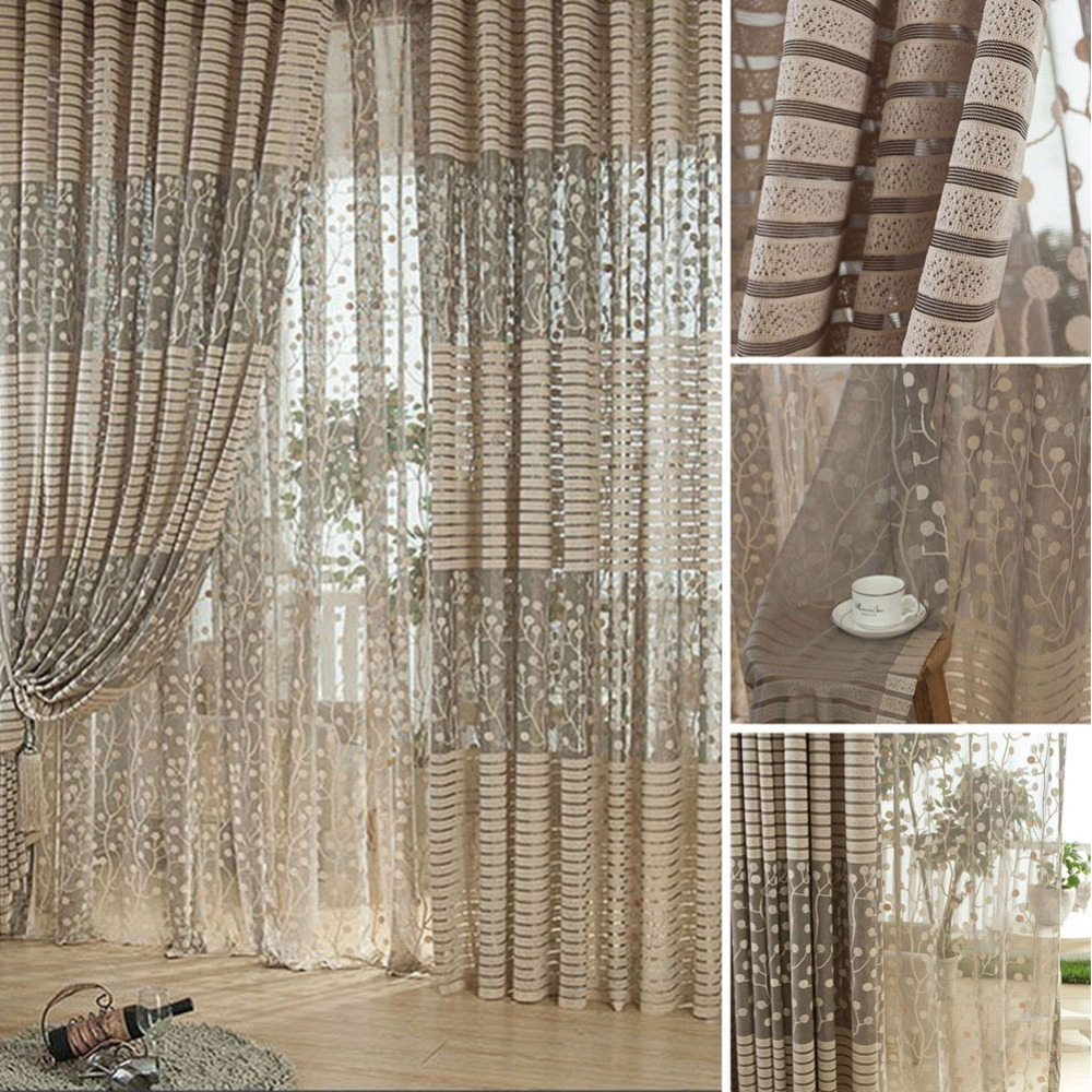 2017 Luxurious Balcony Drape Panel Sheer Curtain Tulle Door Window Scarf Valances Living Room