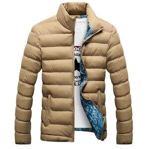Image 4 - Мужская зимняя куртка с хлопковой подкладкой, толстая приталенная стеганая парка с длинными рукавами, теплая верхняя одежда, 2020