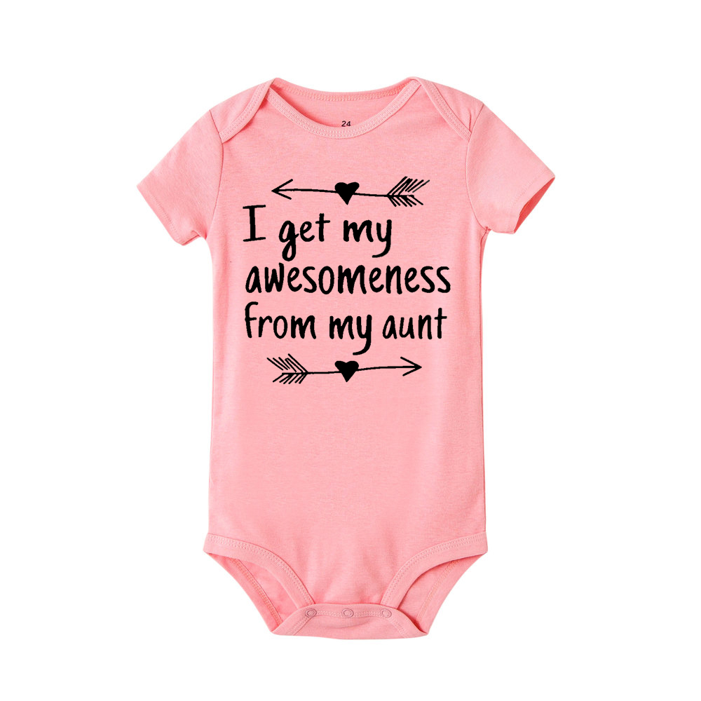 New Summer Stylish Romper I Get My Awesomeness From My Aunt Letter Print Cotton Jumpsuit Infant