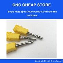 3 stücke 4*22mm Einzelne Flöte Carbide Mühle Spiralschneider und Bits Aluminium Schneidwerkzeuge für Cnc maschine gravur Arbeitet