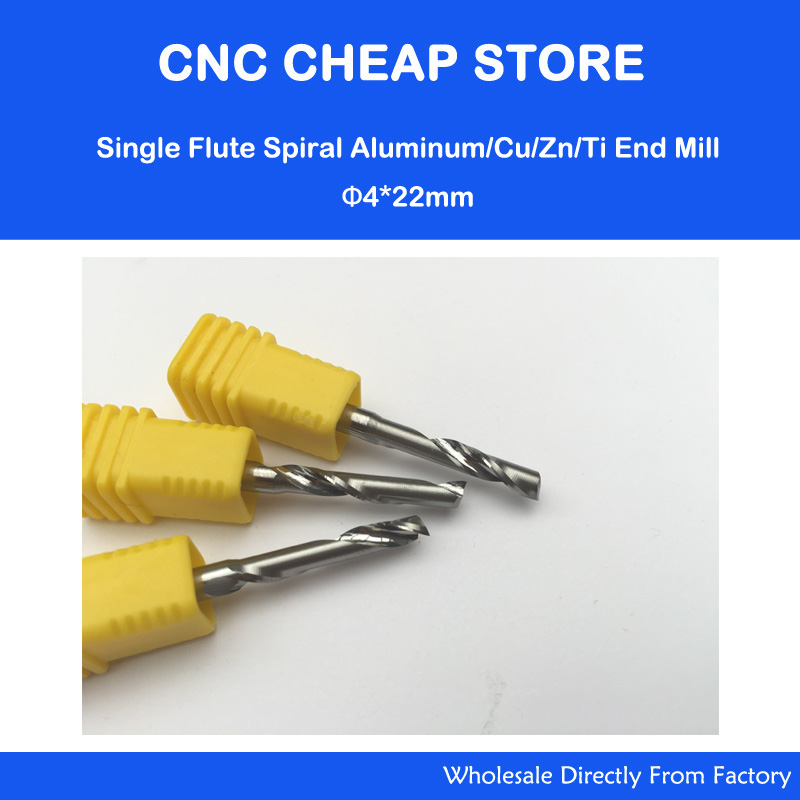 3pcs 4*22mm Single Flute Carbide Mill Spiral Cutter and Bits Aluminum Cutting Tools for CNC Machine Engraving Works 6 32mm aa series one spiral flute bits tungsten carbide end mill engraving tool bits arylic cutter tools cutting tools
