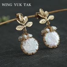 Женские серьги гвоздики в виде цветка wing yuk tak корейские